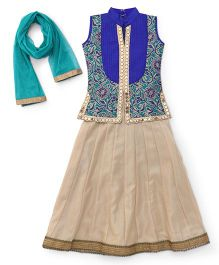 Enfance Brocade Threaded Choli With Laced Ghagra & Dupatta Set - Blue & Gold