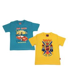 Giraffe Half Sleeves Round Printed T-shirt Pack Of 2 - Yellow And Blue