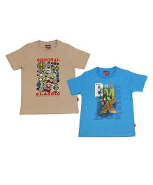 Giraffe Half Sleeves Round Printed T-shirt Pack Of 2 - Blue And Light Brown
