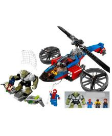 Emob Super Heroes DIY Spider Helicopter Rescue Blocks Set With 4 Minifigures - 299 Pieces