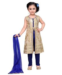 Adiva Sleeveless Kurta Pants And Dupatta Set - Golden Blue