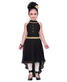 Adiva Sleeveless Embellished Dress With Leggings - Black