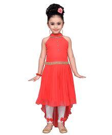 Adiva Sleeveless Embellished Dress With Leggings - Orange