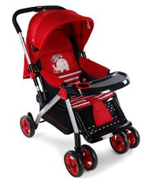 Baby Pram Cum Stroller With Mosquito Net - Red