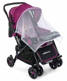 Baby Pram Cum Stroller With Mosquito Net - Purple