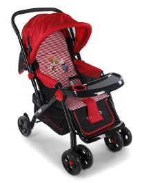 Baby Stroller Cum Pram With Mosquito Net Honeybee & Ladybug Print - Red And Black