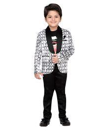 AJ Dezines Full Sleeves Blazer T-Shirt And Trouser Set - Black White
