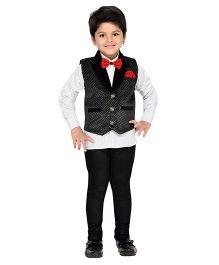 AJ Dezines Party Wear Suit - Black White