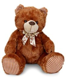 Dimpy Stuff Teddy Bear Soft Toy With Check Paws Dark Brown - 46 cm