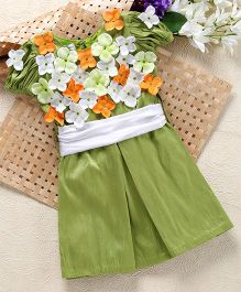 Shu Sam & Smith Box Pleat Dress With Flowers Applique & Lace Waist Band - Sap Green