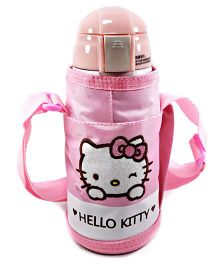Kidofash Kitty Steel Insulated Sipper With Bottle Cover 500 Ml - Pink