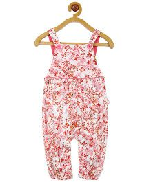 My Lil Berry Floral Print Jersey Ruffle Dungaree - White And Pink