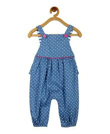 My Lil Berry Polka Dot Denim Ruffle Dungaree - Blue