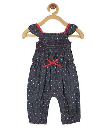 My Lil Berry Heart Print Denim Jumpsuit - Blue