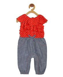 My Lil Berry Denim Frill Romper - Red And Blue