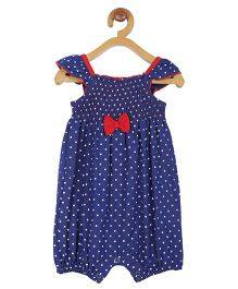 My Lil Berry Romper With Polka Dots And Bow Applique - Blue