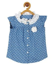 My Lil Berry Flutter Sleeves Top Polka Dot Denim Lace - Light Blue & White