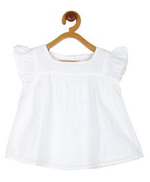 My Lil'Berry Girls White Flutter Sleeve Top White 12-18M Cotton