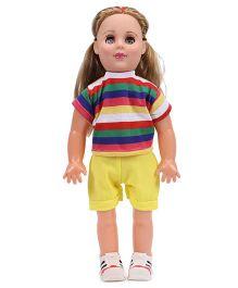 Speedage Senorita Doll Stripes Print Dress Blue - Height 45 cm