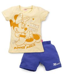 Proteens-Bodycare Short Sleeves Top And Shorts Minnie Mouse Print - Yellow Blue