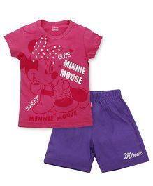 Proteens-Bodycare Short Sleeves Top And Shorts Minnie Mouse Print - Pink Purple