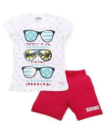 Proteens-Bodycare Short Sleeves Top And Shorts Sunglasses Print - White & Dark Pink