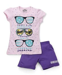 Proteens-Bodycare Short Sleeves Top And Shorts Sunglasses Print - Pink Purple
