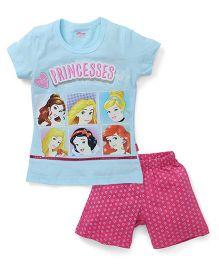 Proteens-Bodycare Half Sleeves Night Suit Disney Princess Printed - Blue Pink