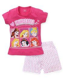 Proteens-Bodycare Half Sleeves Night Suit Disney Princess Printed - Pink