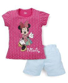 Proteens-Bodycare Minnie Mouse Print Night Suit - Pink & Light Blue