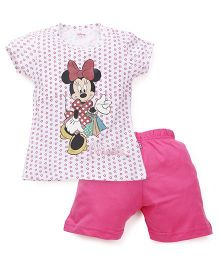 Proteens-Bodycare Minnie Mouse Print Night Suit - White Pink