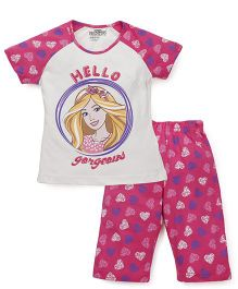 Proteens-Bodycare Capri Night Suit Hello Gorgeous Print - Pink White