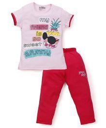 Proteens-Bodycare Half Sleeves Night Suit Pineapple Print - Pink