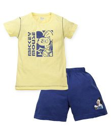 Proteens-Bodycare Half Sleeves T-Shirt And Shorts Set Mickey Mouse Print - Yellow Blue