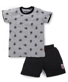 Proteens-Bodycare Half Sleeves T-Shirt And Shorts Set Football Print - Grey Black