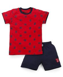Proteens-Bodycare Half Sleeves T-Shirt And Shorts Set Football Print - Red Navy