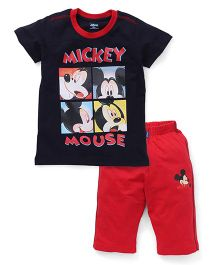 Proteens-Bodycare Half Sleeves Night Suit Mickey Mouse Printed - Navy Red
