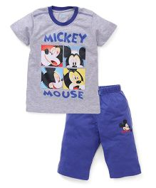 Proteens-Bodycare Half Sleeves Night Suit Mickey Mouse Printed - Grey Blue