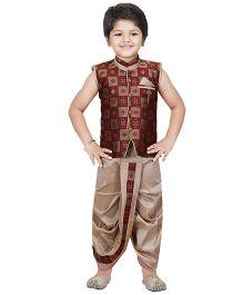Shree Shubh Brocade Ethnic Dhoti Kurta Set - Maroon
