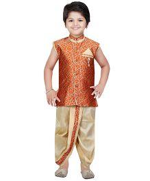 Shree Shubh Brocade Ethnic Dhoti Kurta Set - Orange