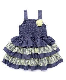 Soul Fairy Denim Dress With Smockingon Yoke & Lace & Denim Tier - Blue