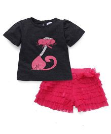 Soul Fairy Net Ruffle Divided Skirt With Cat Print Tee - Grey & Fuchsia