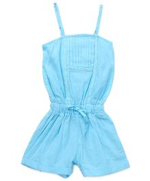 Soul Fairy Flax Jumpsuit With Lace Inserts - Aqua Blue