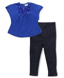 Soul Fairy Sequin Tee With Leggings - Royal Blue