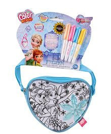 Disney Frozen Sequin Spring Mini Heart Bag With 4 Markers - Blue