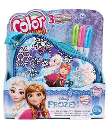 Disney Frozen Sequin Deluxe Heart Bag Small With 3 Markers - Blue