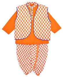 Kid1 Flower Printed Dhoti Kurta & Jacket - Orange