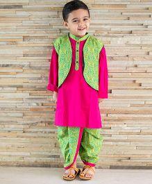 Kid1 Contast Kurta With Printed Dhoti & Jacket - Pink