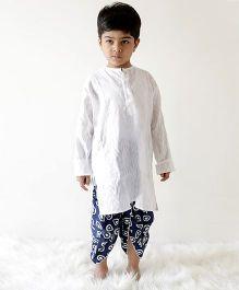 Kid1 Sanganeri Printed Dhoti With Contrast Kurta - White & Blue