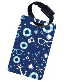 The Crazy Me Sunglasses Anchor Camera Printed Luggage Tag - Dark Blue